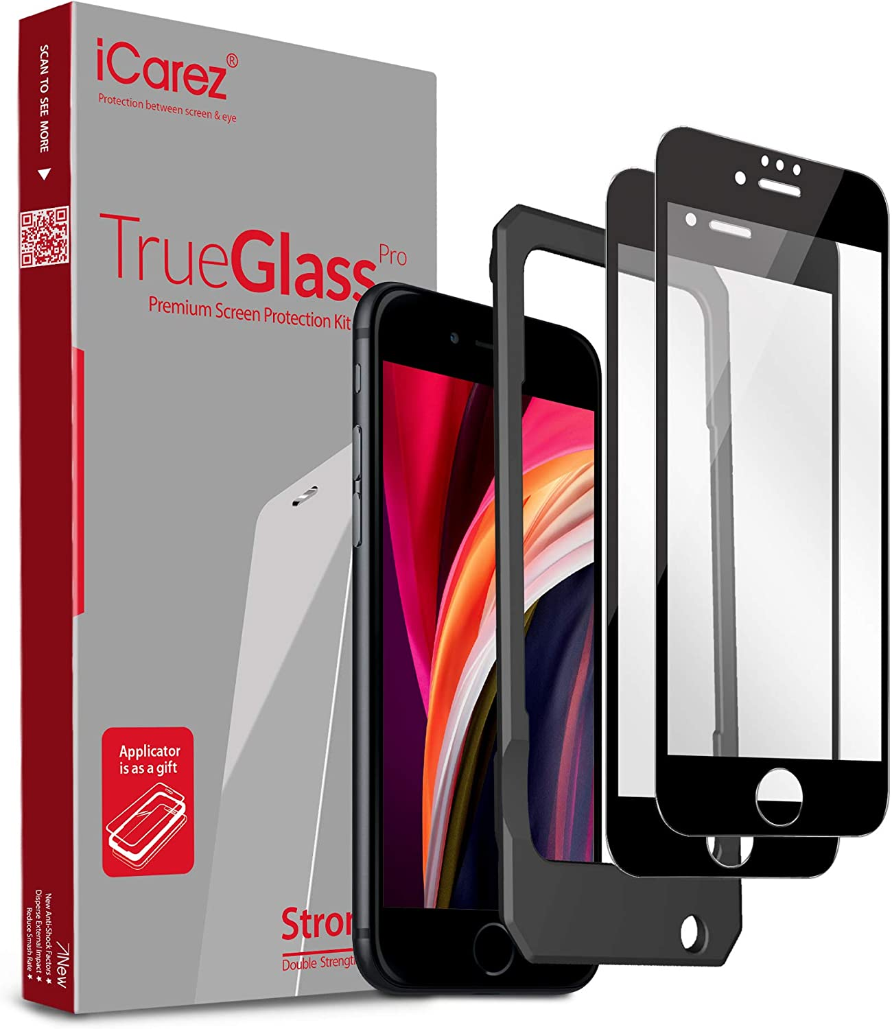 iCarez Tempered Glass Screen Protector for iPhone SE 2020 4.7-inches, 2-Pack Full Coverage