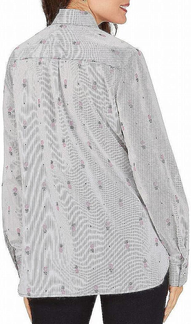 Foxcroft Women Shirt Relaxed Button Down Pineapple Striped Black 2