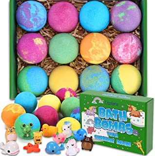 Bath Bombs for Kids with Toys Inside - 12 Surprise Gift Set for Girls Boys, Bubble Bath Fizzies Vegan Essential Oil Spa Fi...