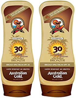 Australian Gold Spf 30 Broad Spectrum Moisture Max Sunscreen Lotion with Kona Bronzers, 8 Ounce (Pack of 2) (2 Pack, Spf 30)