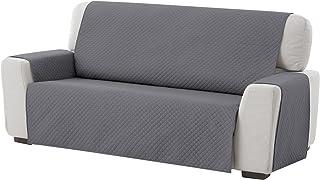TEXTIL-HOME Textilhome - Housse de Canapé Protecteur Adele, Taille 3 Places. Housse Matelasse Réversible. Couleur Grey