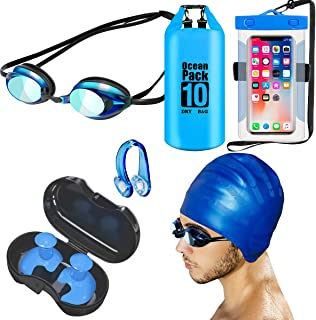 Updated 6 in 1 Swim Cap Swimming Goggles Nose Clip Ear Plugs Set,Anti Fog UV Protection Professional Swim Goggles for Adults Men Women(Blue)