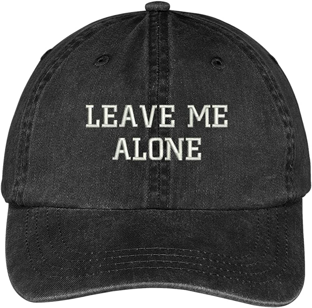Trendy Apparel Shop Leave Me Alone Embroidered Washed Cotton Adjustable Cap
