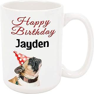 Happy Birthday Jayden - 15 Ounce Coffee or Tea Mug, White Ceramic, Unique Birthday Present Gift Idea