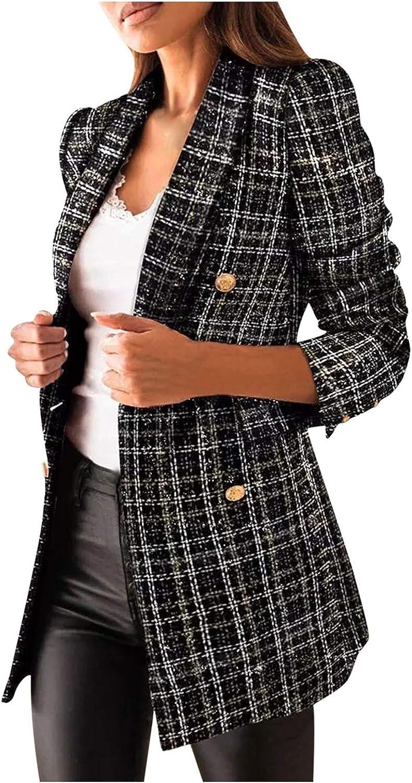 HDgTSA Women's Cardigan Long Sleeve Plaid Print Button Open Front Long Cardigan Outerwear