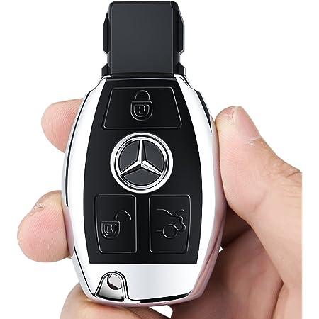 COVELLメルセデスベンツ キーケース,360度フルプロテクション 高級 TPU 車用 キーカバー のために適した メルセデスベンツC E S M CLS CLK Gクラスキーレススマートキーフォブ (シルバー)