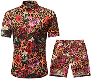 DAY8 Ensemble Homme Short Et Chemise Manche Courte Set Sportswear Homme Ensembles 2 Pièce Survetement Homme Ete Hawaïenne ...