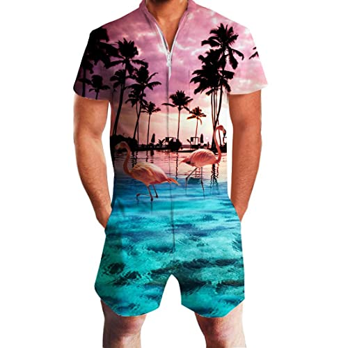 a4ceab232c01 UNIFACO Mens Printed One Piece Short Sleeve Zipper Rompers Summer Short  Jumpsuit Overall Pants w