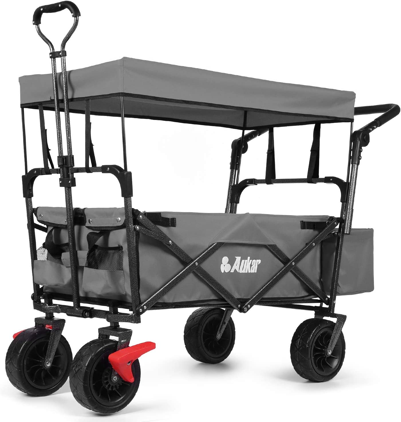 AUKAR Heavy Duty Collapsible Folding Cheap Utility Garde Outdoor Wagon Reservation