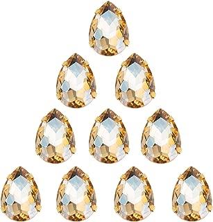 Choupee Sew On Rhinestone Tear Drop Crystal Rhinestones in Gold Setting 48 Pcs (Champagne, 13 X 18 MM)