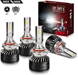 TURBOSII Extremely Bright 9005/HB3 High Beam 9006/HB4 Low Beam Combo LED Headlight Bulbs Conversion Kit, DOT Approved D6 Series CSP Chips Fog Light,12000LM 6000K Cool White (4Pack,2 sets,Black)