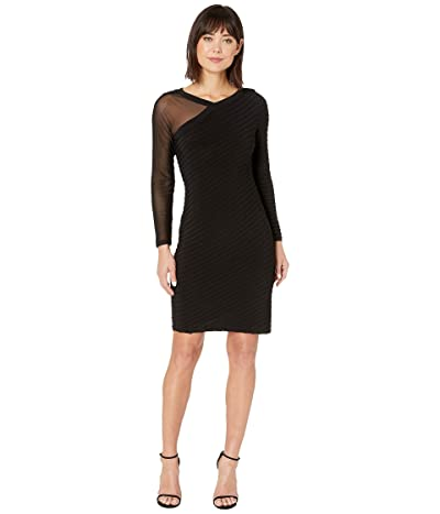Adrianna Papell Illusion Bias Pin Tuck Dress (Black) Women
