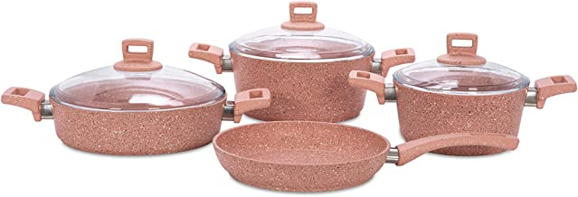 Alberto Granite Cookware Set 7 Pieces Pinkstone 100084208