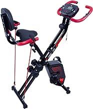 EVOLAND Bicicleta estática de entrenamiento con 8 niveles de resistencia, asiento ajustable, pantalla LCD, bicicleta estática para adultos