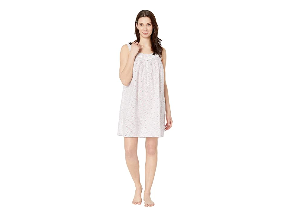 Eileen West Cotton Woven Lawn Short Chemise (White Ground Multi Ditsy Floral) Women