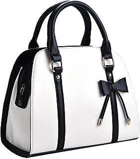 COOFIT Damentasche,Coofit Handtasche Damen Leder Handtasche Schultertasche Rockabilly Tasche Handtasche Elegant- Weiß, Large