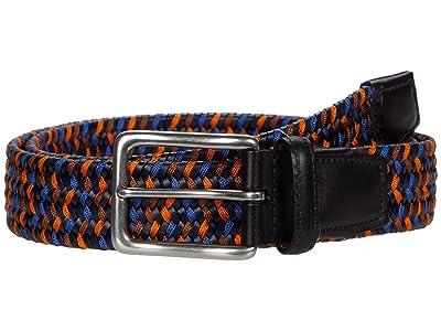Torino Leather Co. 35 mm Italian Woven Leather Rayon Stretch (Navy/Blue/Orange) Men