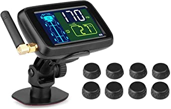 B-Qtech Tire Pressure Monitoring System Wireless TPMS with 8 Sensors for RV Trailer Truck Tow Motorcycle BUS LCD Display Support Max 22 Tyres(0~215PSI)