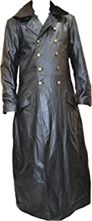WW2 World War 2 Leather German Waffen Elite Officers Military Fur Collar Black Long Coat