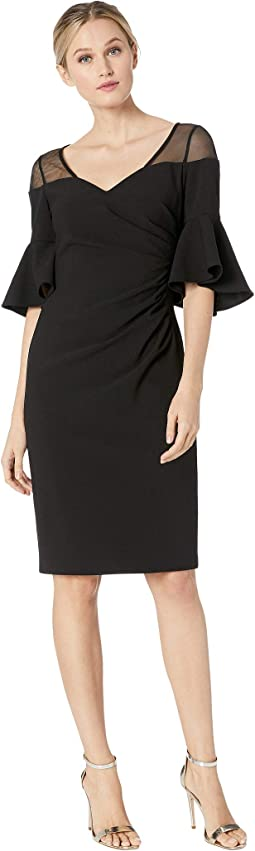 Ruched Waist with Illusion Shoulder Dress