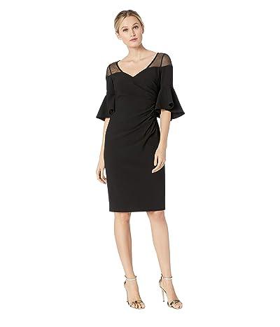 Calvin Klein Ruched Waist with Illusion Shoulder Dress (Black) Women
