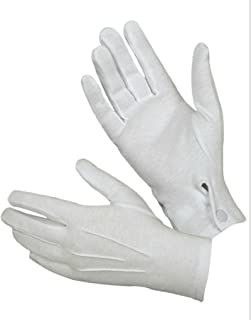 Hatch WG1000S Cotton Parade Glove W/Snap Back, White, Medium