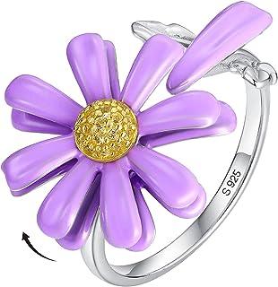 UTISUVIKO Daisy Flower Ring for Women 925 Sterling Silver Ring Fidget Roating Blossom Flowers Purple Enamel Double Petals ...