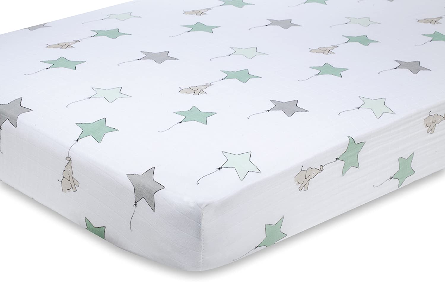 Aden + anais 8600F classic crib sheet, up, up & away - elephant