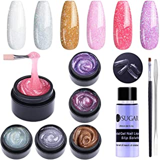 UR SUGAR 15ml Glitter Poly Nail Gel Kit, Glitter Gel Nail Polish Nail Extension Builder with Tool All in One Starter Kit Iridescent Color for Halloween Christmas