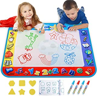 Best Alago Aqua Coloring Mat,Kids Toys Large Water Painting Mat,Toddlers Doodle Pad with 4 Colors,Gifts for Girls Boys Age 3 4 5+ Years Old,4 Pens,Drawing Molds and Booklet Included Review