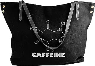 Women's Canvas Large Tote Shoulder Handbag Caffeine Coffee Molecule Chain Diagram Perfect Handbag Bag Tote