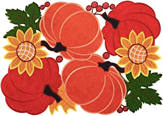 Simhomsen Fall or Autumn Harvest Pumpkins Table Place-mats for Thanksgiving or Halloween, Applique Embroidery 12 × 18 inch Set of 6