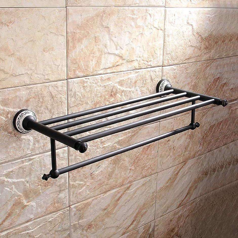 不透明な意気消沈した用心深いHYH 黒い銅の吊り下げ式タオル掛けの陶磁器の基礎浴室の洗面所の浴室の棚 美しい人生