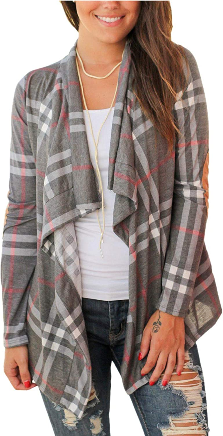 Daomumen Womens Plaid Open Front Cardigan Shawl Collar Long Sleeve Elbow Patch Draped Outwear Grey