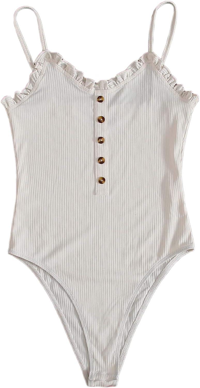WDIRARA Women's V Neck Spaghetti Strap Rib Knit Button Frill Trim Bodysuit