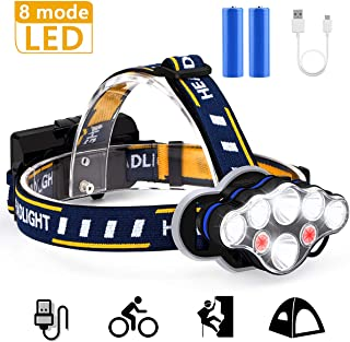 Headlamp, 18000 Lumen Ultra Bright 8 LED Headlight Flashlight with White Red Lights, USB Rechargeable Waterproof Headlamp, 8 Modes work light for Outdoor Cycling Running Fishing Camping Hunting Hiking