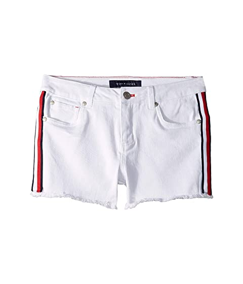 e1aeb6dab Tommy Hilfiger Kids Denim Shorts with Logo Side Taping in White (Little Kids /Big Kids)