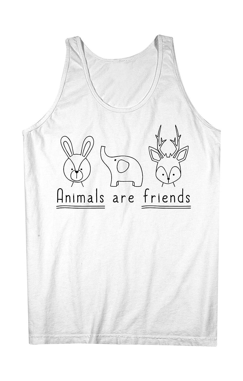 Animals Are Friends Cute 素敵 Friendly Happy Elephant Deer Rabbit 男性用 Tank Top Sleeveless Shirt