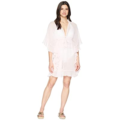Bleu Rod Beattie Open Front Ruffle Caftan Cover-Up (Pink Pearl) Women