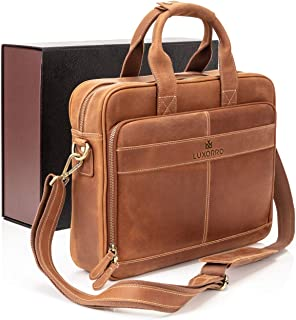 Luxorro Leather Briefcases for Men | Soft, Full Grain Leather Laptop Bag for Men W/Hand Stitching That Will Last A Lifetim...