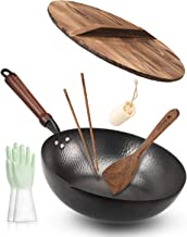"Bielmeier Wok Pan 12.5"", Woks and Stir Fry Pans with lid, Carbon Steel Wok with Gloves & Cookware Accessories, Wok with Li..."