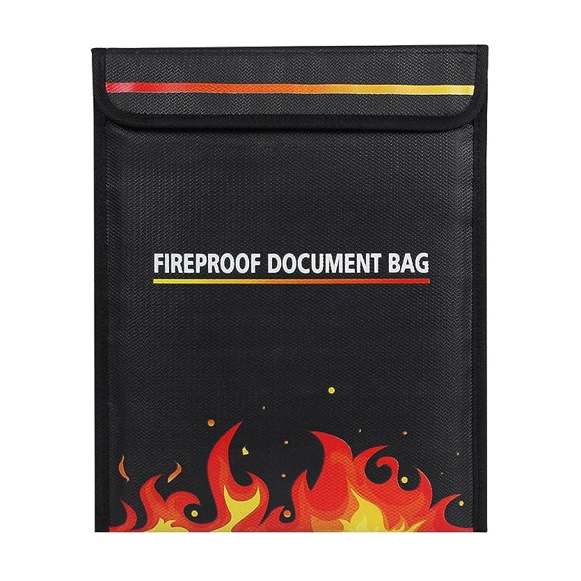 幸運第役職Gubest 防災バッグ 防爆バッグドキュメント収納袋 重要なファイルセーフプロテクトバッグ防火シースバッグ 保護袋 15.35'' x 11.6'' (ブラック)