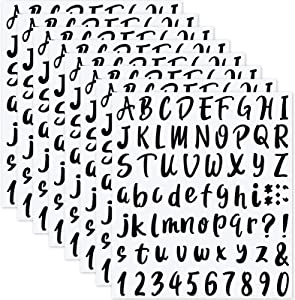 576 Pieces 8 Sheets Graduation Cap Stickers, Self-Adhesive Vinyl Sticker, Alphabet Number Stickers, Decals for Sign, Door, Business, Address Number (Black,1 Inch)