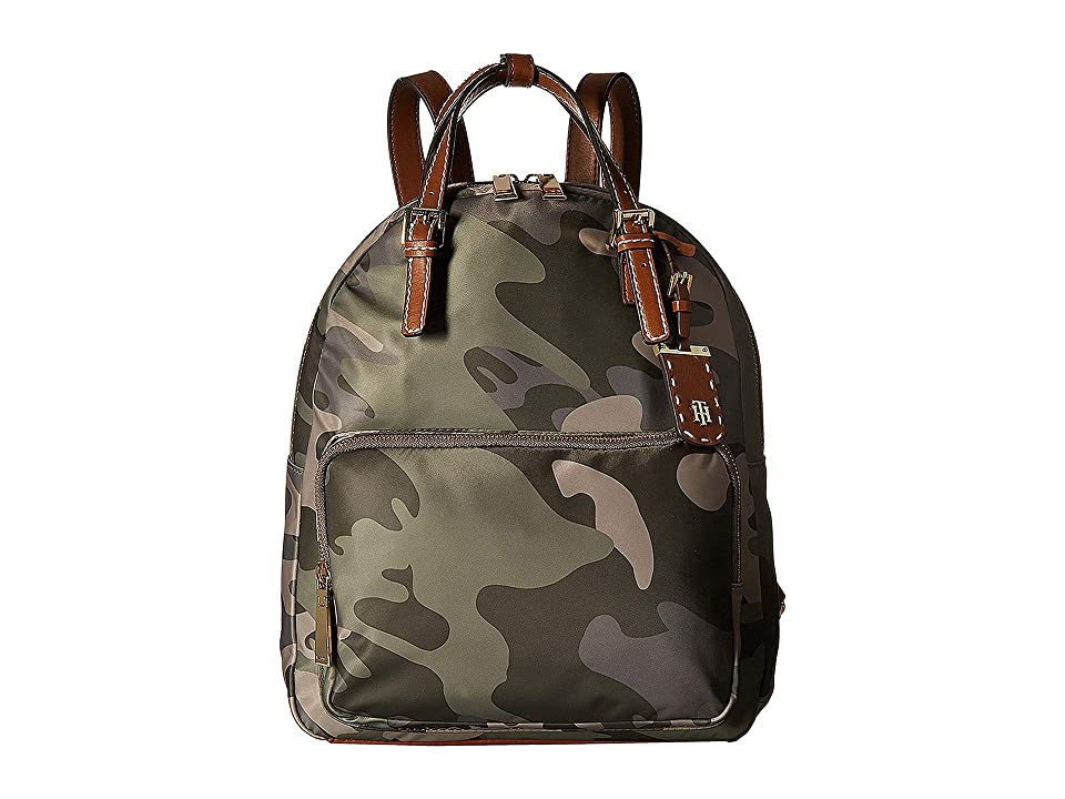 Tommy Hilfiger Julia Double Handle Solid Nylon Backpack (Green/Multi) Backpack Bags