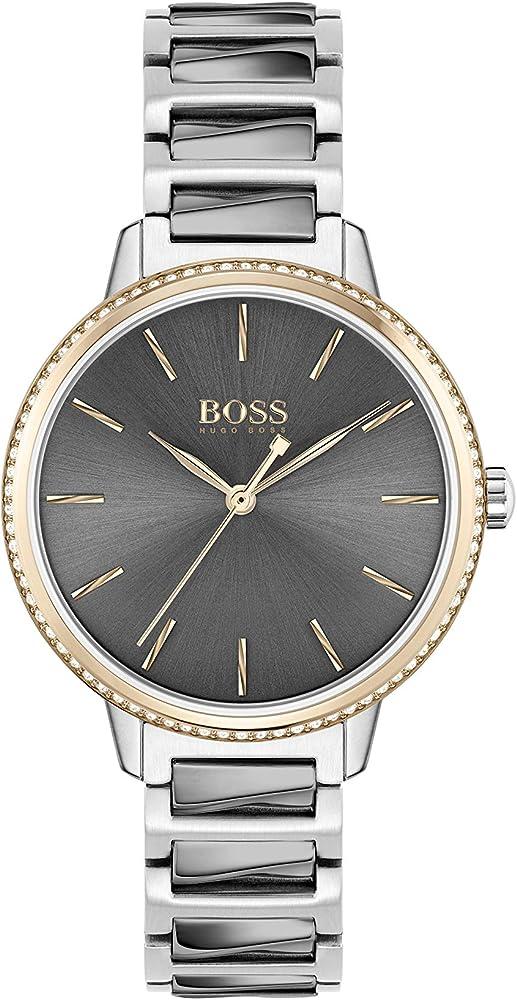 Hugo boss, orologio per donna,in acciao inossidabile,rifinito con placcatura ionica 1502569