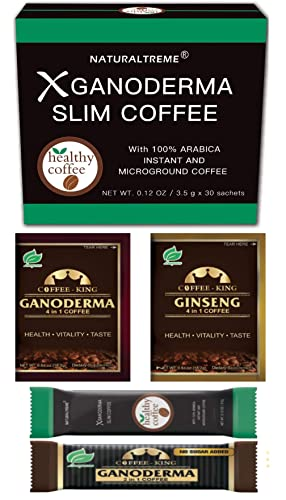 PureGano Ganoderma Slimming Weight Loss & Detox Coffee - 100% Natural Arabica Black Instant Coffee - Appetite Suppressant, Fat Burner & Metabolism Booster - 30 Day Supply + 4 Bonus Samples