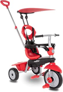 smarTrike Zoom 4 in 1 baby Tricycle, Red (Renewed)