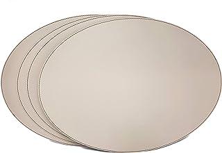 Nikalaz Lot de 4 Set de Table Ovale, 45.7 x 33 cm, Cuir Naturel Recyclé (Crème Blanc - Beige)