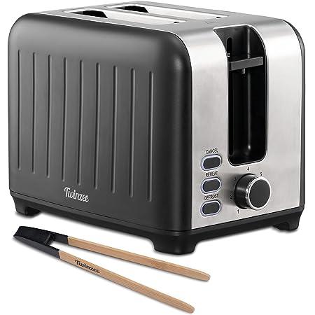 Twinzee - Grille Pain 3 en 1 - Noir Mat en Inox - 2 Large Fente - Toaster Rétro - Pince en Bambou - 7 Niveaux de Brunissage - 850W - Chauffe Petit Pain et Ramasse Miette
