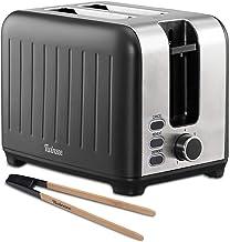 Twinzee - Grille Pain 3 en 1 - Noir Mat en Inox - 2 Large Fente - Toaster Rétro - Pince en Bambou - 7 Niveaux de Brunissag...